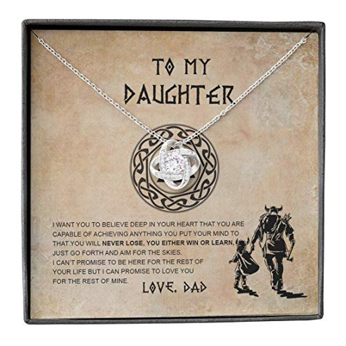 Father Daughter Necklace, Shield Maiden Viking, Never Lose Win Learn Love, Love Knot Dad Gifts, Dainty Chain Necklaces for Women, Mothers Day Jewelry Birthday Gift, Pendant Mother's Day Ideas for Her