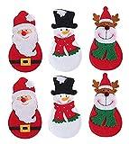 Gwill - 6 bolsillos para cubiertos de Navidad, diseño de Papá Noel, muñeco de nieve, reno, tenedores, bolsos, cubiertos, bolsillos, decoración de mesa de Navidad