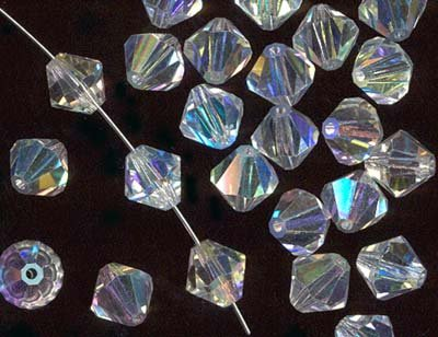 Charming Beads Paket 95+ Klar Tschechische Kristall 3mm AB Facet Doppelkegel Perlen GB8643-1