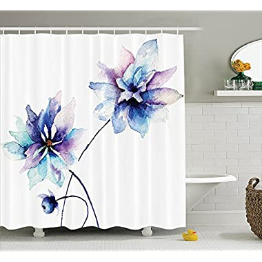 Ambesonne Watercolor Flower Shower Curtain, Flower Drawing with Soft Spring Colors Retro Style Floral Artwork, Fabric Bathroom Decor Set with Hooks, 75 Inches Long, White Purple Blue