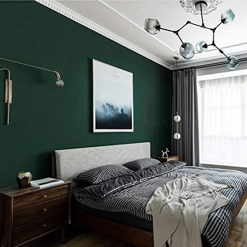 HOLIKE Einfarbig Uni-Tapete Vlies Papier Schlafzimmer Wohnzimmer Flur Hintergrund Wand American Rural Fashion Nordischen Stil Side Tapete Grün,145