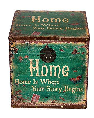 Truhe Kiste JS 14316 , Holztruhe mit hochwertigem Canvas bezogen. innen mit Stoff ausgeschlagen ,im Vintage Look, Schatzkiste,Kiste, Piratenkiste, Kleinmöbel, Mit Metallbeschlägen, Antikoptik, Holz, verschieden Größen, Maritim, Deko, Hochwertig, Kolonialtruhe, Kolonialstil, Holzbox, Truhe mit Ornamenten . (Größe L 28cm x 28cm x 28cm)