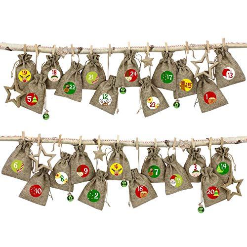 24 Sacchetti di Tessuto Calendario dell'avvento da riempire - con cordicella del fornaio e Le staffe di Legno - per l'auto Decorazione - Sguardo Iuta