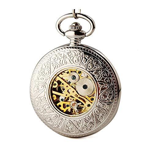 Zxcvlina Reloj de Bolsillo Vintage Vintage clásico Unisex del tirón del Bolsillo de Reloj mecánico Antiguo Reloj Colgante Regalo para el cumpleaños Aniversario Día (Color :...