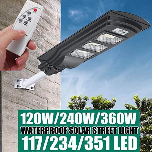 HMLIGHT 120W / 240W / 360W LED Lampe Solaire Wall Street Lumière Super Bright Radar de Mouvement PIR Lampe de sécurité pour extérieur Jardin,Gris,360W