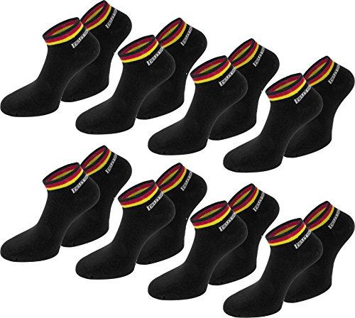 normani 8 Paar Deutschland Fan Socken Sneaker - Mit Deutschland Farben - Fahne - perfekt zur Fußball oder Handball WM/EM [Gr. 35-46] Farbe Schwarz Größe 43/46
