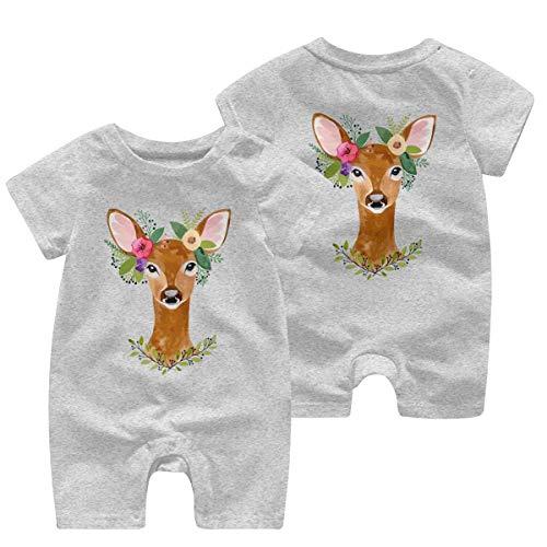Herten met bloem kroon pasgeboren kinderen korte mouw Romper Jumpsuit Kid pyjama 0-24 maanden