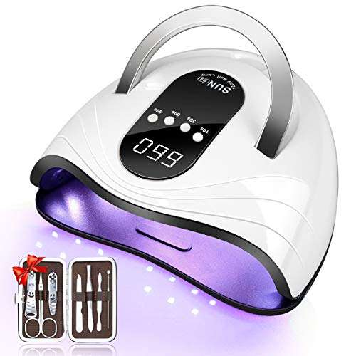 Gel Nail Lamp LED UV Nail Dryer for Gel Polish Curing with 4 Time Setting,Fast Curing with 42 LED Beads, Gel Nail Light with Smart Sensor, Removable Base for Manicure & Pedicure (Round)