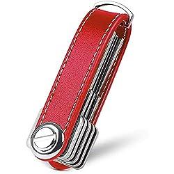 flintronic Key Organizer | Schlüsselanhänger Echtes Leder | Pocket Smart Key Holder mit Stilvoller,Funktionaler und Praktischer Geschenkbox (für 7-9 Mehrfachschlüssel) - Rot