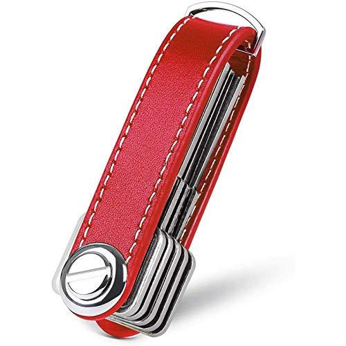 flintronic Organizzatore di Chiavi|Portachiavi in Vera Pelle|Pocket Smart Key Holder con Confezione Regalo Elegante,funzionale e Pratico (Contiene 7-9 Tasti Multipli) - Rosso