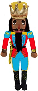 Nutcracker Ballet Gifts Plush African American Nutcracker King Doll with Red & Blue Uniform Jacket & Yellow Accents, Classy Black Boots, and Golden Crown Inspired by The Nutcracker Ballet- 14 Inch