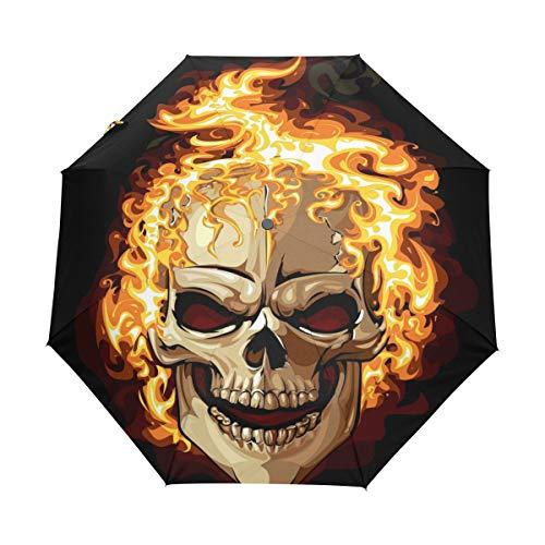 BIGJOKE 3-fach faltbarer Regenschirm mit automatischem Öffnen und Schließen, bedruckt mit Zuckerschädel und Totenkopf, winddicht, leicht, kompakt, für Jungen und Mädchen