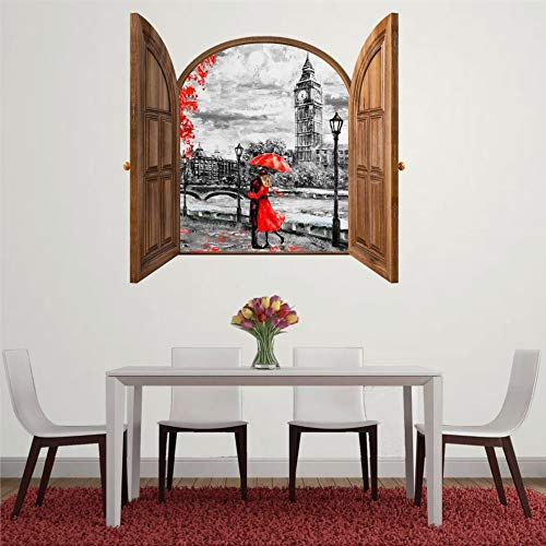 DONL9BAUER Romantic London Couple Hugs Vinyl Stickers Removable Wall Decor Window Frame 90cm 3D Smashed Wall Art Mural Poster Home Decal Skin for Kids Nursery Bedroom Living Room