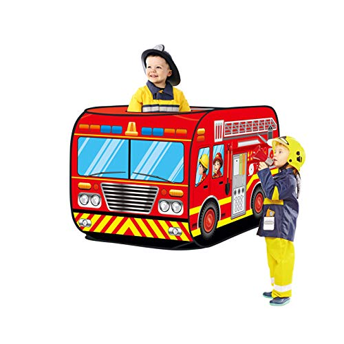 Haehne Children's Play Tent, Playground Indoor Outdoor Kids Gamehouse Toy Hut Easy Fold Playhouse, Cute Fire Engine Car Design Wendy House