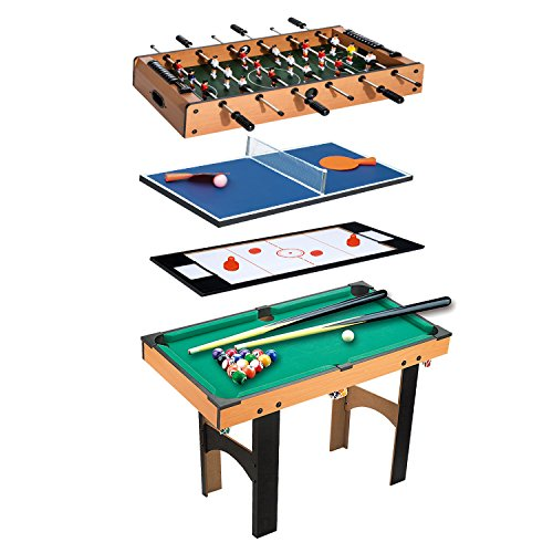 HOMCOM Table Multi Jeux 4 en 1 babyfoot Billard air...
