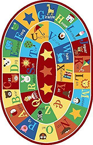 "Furnish my Place 745 3x5 Kids ABC Animals Children Rug Anti Skid Oval, 3'3"" x5, Multicolor"