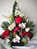 roselynexpress Composition de Fleurs artificielles lesté Totalement Ciment en jardinière pour cimetière. Réalisé par nos Soins, Fleurs de très Bonne qualité.