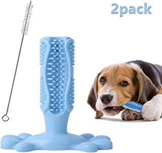 Dog Toothbrush Stick Chew Toys, Hamkaw Natural Rubber Bite Brushing Stick Dog Chew Sticks for Middle Large Breed Pets Dogs, with Gift Cleaning Brush, L