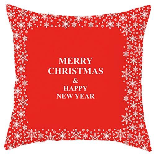 Allegorly Kissenbezug Baumwolle Leinen Weihnachten Kissenhülle Taille Wurf Kopfkissenbezug für Zuhause Und Sofa Schlafzimmer Dekoration
