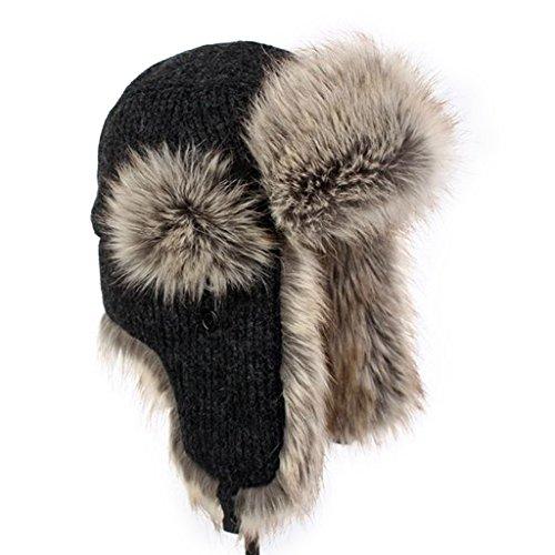LETHMIK Winter Faux Fur Hunting Hat Unisex Trapper Russian Aviator Trooper Hat Black Regular size  7 1/4 - 7 5/8  22 3/4 - 24 IN