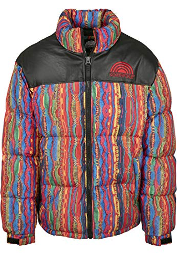 Southpole Herren Puffer Winterjacke Multicolored Pattern Jacket, Bunt, XS