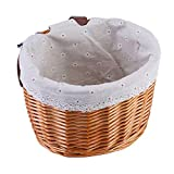 Bike Basket for Girls, Front Detachable Woven Bicycle Basket Little Boys BalanceTricycle for Women Kids Wicker Round Electric Bike Basket for Ladies(Orange)