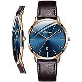 OLEVS Women Wrist Watches Ultra Thin 6.5mm Minimalist Dress Fashion Brown Leather Strap Blue Face Quartz Waterproof Date Day Slim Watches for Ladies