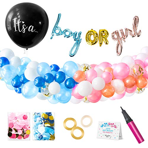 Willa Flare Baby Gender Reveal Party Supplies. 108 Piece Balloon Decorations. Boy or Girl Banner Balloons, 100 White, Confetti, Pink and Blue Balloons, Balloon Garland Kit, Black Gender Reveal Balloon