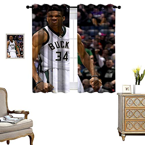 Blackout Curtains for Living Room Kids Bedroom Curtains Kostas Antetokounmpo and Giannis Home Bedroom Wall Decorations Set of 2 Panels W72 x L84
