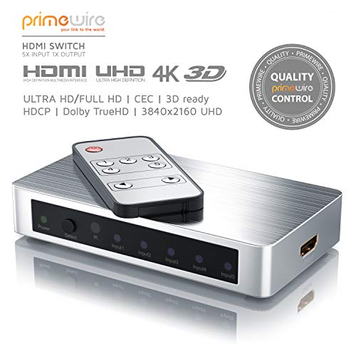 CSL - HDMI Switch 3 Port UHD 4k - HDMI Umschalter - Ultra HD Full HD - CEC - 3D Ready - HDCP - Dolby TrueHD - 4096 x 2160 UHD 4k 2160p bei 30Hz