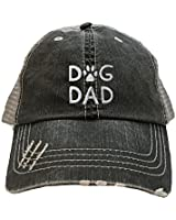 Go All Out One Size Black/Grey Adult Dog Dad Embroidered Distressed Trucker Cap