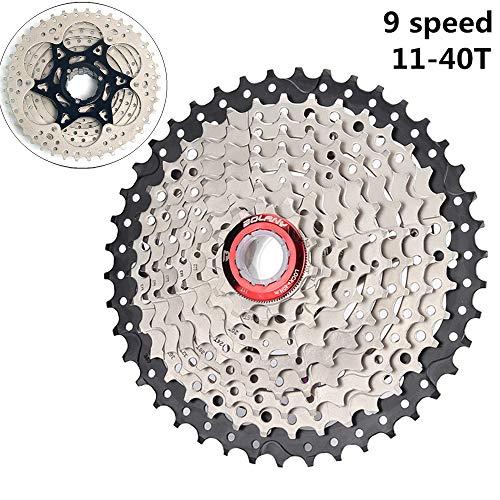 MTB Bicycle 9 Speed Cassette 11-40T, MTB Cassette 9 Speed para Accesorios De Bicicleta De Montaña (Peso Ligero) Plata