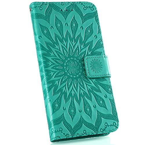 Ysimee Coque Compatible avec Huawei Mate 20 Fleur Portefeuille en Cuir Etui de Protection avec Fentes de Cartes Fermeture Magnétique Fonction Stand Case Couverture à Rabat Housse,Vert