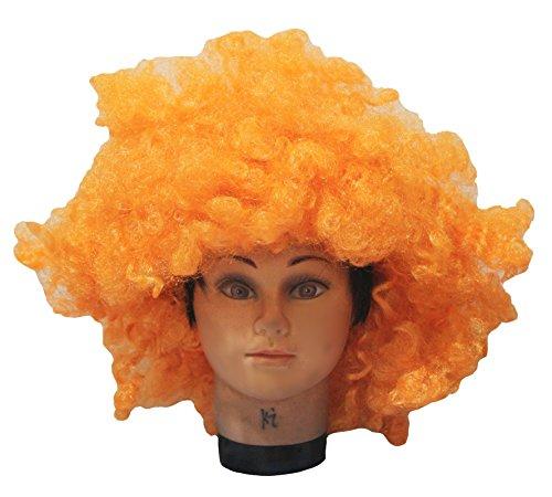 Petitebelle Halloween Orange Big Perruque afro Cheveux pour Unisexe Taille gratuit - Orange - Taille Unique