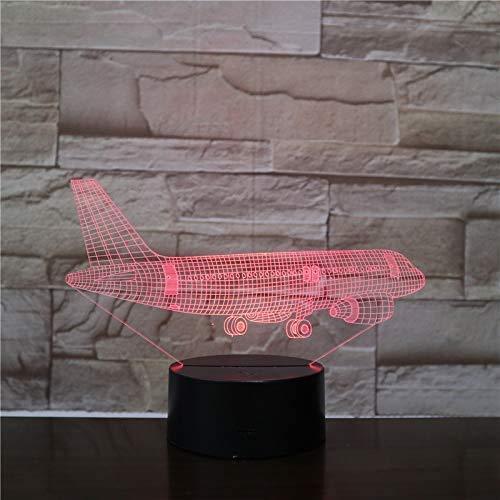 Flying Plane 3D Lampe 7 Farbe LED Wechselschalter Klein Nachtlicht Farbige Lichter Atmosphärenlampe Schlafzimmer Licht für Geschenk