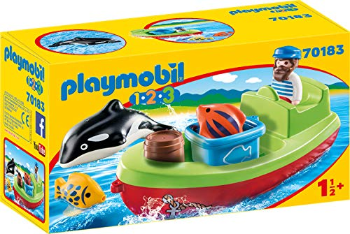 PLAYMOBIL 1.2.3 Pescador con bote, color carbón (70183) , c