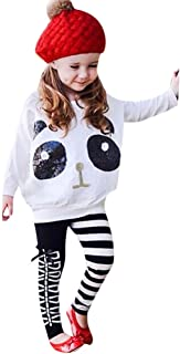 GoodLock Baby Girls Clothes Set Toddler Kids Panda Sequins Tops T-Shirt+Striped Bow Pants Outfits 2Pcs