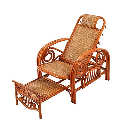 CZPF Alter Mann Liegestuhl Balkon Freizeit Korbsessel Dreifachgefalteter Rattan-Liegestuhl Klappbarer Rattan-Liegestuhl Klappbarer Rattan-Liegestuhl Für Die Mittagspause