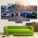 Cuadros decoracion dormitorios Coches de Fórmula F1 -200x100 CM Cuadros Modernos Impresión de Imagen Artística Digitalizada Lienzo Decorativo Para Salón o Dormitorio 5 Piezas