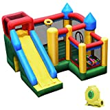 Giantex Mighty Inflatable Bounce House Castle Jumper Moonwalk Bouncer w/ 50 Pcs Ocean Balls, Carry Bag, Stakes and Repair Kit (with Blower)