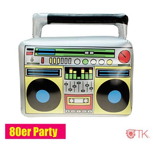 TK Gruppe Timo Klingler Aufblasbarer Retro Ghettoblaster Hip Hop Radio Walkman 80er 90er Party Accessoires Kostüm Fasching Karneval Bad Taste Assi (1x)