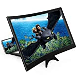 14' Curved Screen Magnifier for Cell Phone -3D HD Magnifing Projector Screen Enlarger for Movies, Videos, and Gaming – Foldable Phone Stand Holder with Screen Amplifier–Compatible with All Smartphones