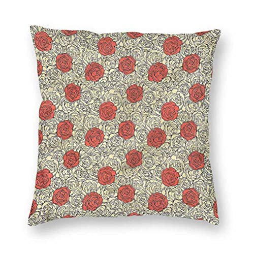 YUAZHOQI Pillow Covers 20' x 20', Rose,Romantic Flowerbed Art, Square Decorative Pillowcases for Bench Couch Livingroom(1 Pack)