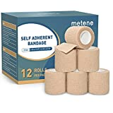 Metene Self Adhesive Bandage Wrap 12 Pack, Athletic Tape 2 Inches X 5 Yards, Sports Tape, Breathable, Waterproof, Elastic Bandage for Sports, Wrist and Ankle Wrap Tape, Non-Woven Bandage