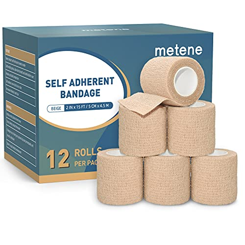 Self Adhesive Bandage Wrap 12 Pack, Athletic Tape 2 Inches X 5 Yards, Sports Tape, Breathable, Waterproof, Elastic Bandage for Sports, Wrist and Ankle Wrap Tape, Non-Woven Bandage (Brown)