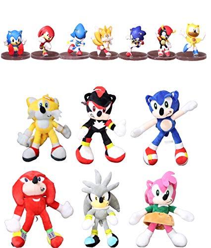 Figura Sonic y Felpa 13 unids / Lote Anime Sonic muñeco de Peluche de Juguete de Dibujos Animados Lindo Relleno Negro Azul Rosa Amarillo Sombra Sonic Juguetes de Peluche muñecas niños