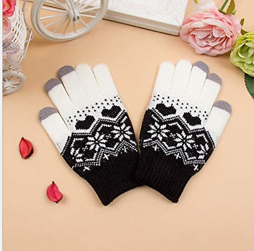 Hot Women Men Unisex Wool Touch Screen Gloves Women Girl Stretch Knit Mittens Winter Warm Gloves Snowflakes New - (Color: Black)