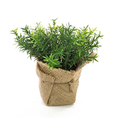 artplants.de Tomillo Artificial Vitus en Saco de Yute, Verde, 18cm - Planta sintética - Hierba de imitación
