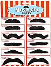 Rhode Island Novelty Black Mustache Party Pack 3 Packs of 12