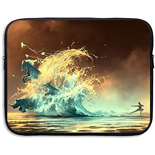 Business Aktetas Sleeve Art Wave Deer Rhino Paard Laptop Sleeve Case Note PC Cover Handtas